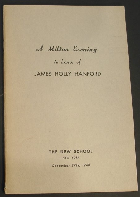 Image for A Milton Evening in Honor of James Holly Hanford