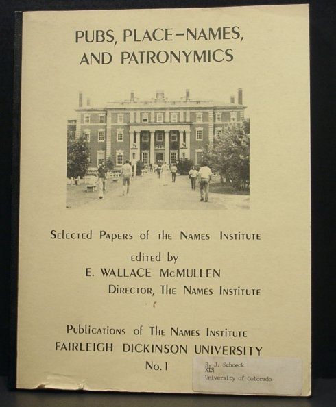 Image for Pubs, Place-Names, and Patronymics - Selected Papers of the Names Institute