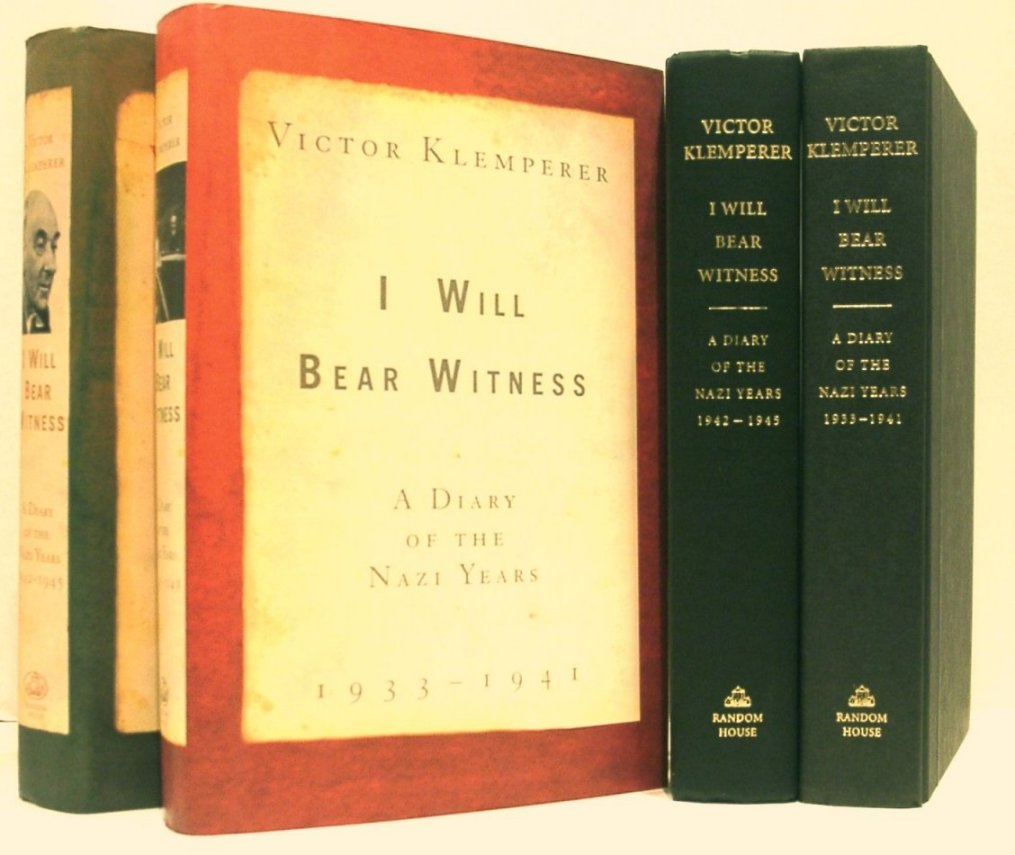Image for I Will Bear Witness. the Nazi Years Vol 1 - 1933-1941 & Vol 2 - 1942-1945. (Complete in 2 Volumes)