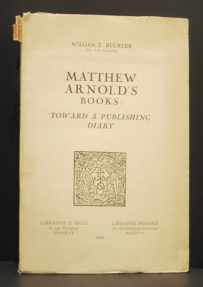 Image for Matthew Arnold's Books: Toward a Publishing Diary